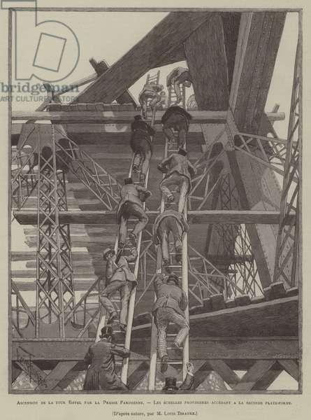 Ascension de la tour Eiffel par la Presse Parisienne, Les echelles provisoires accedant a la seconde plate-forme (engraving)