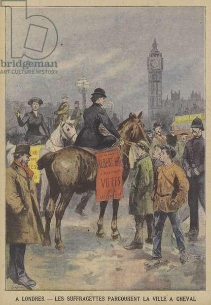 Suffragettes riding through central London on horseback (colour litho)