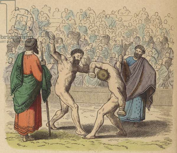 Ancient Greek boxing (coloured engraving)