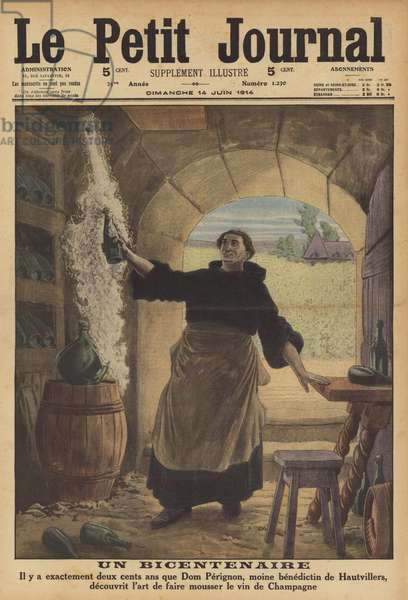 Bicentenary of the invention of sparkling Champagne by the monk Dom Perignon (colour litho)