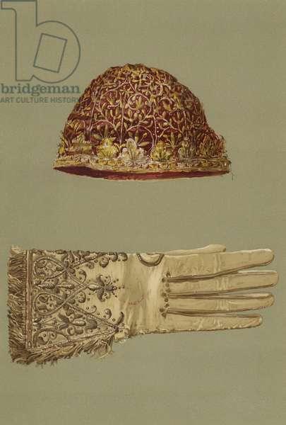 Skull-Cap and Glove of King Charles I (chromolitho)
