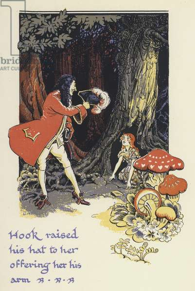 Peter Pan and Wendy: Hook raised his hat to her offering her his arm (colour litho)