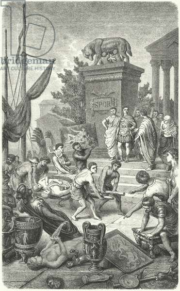 Arrival of Ancient Greek works of art taken to Rome (engraving)