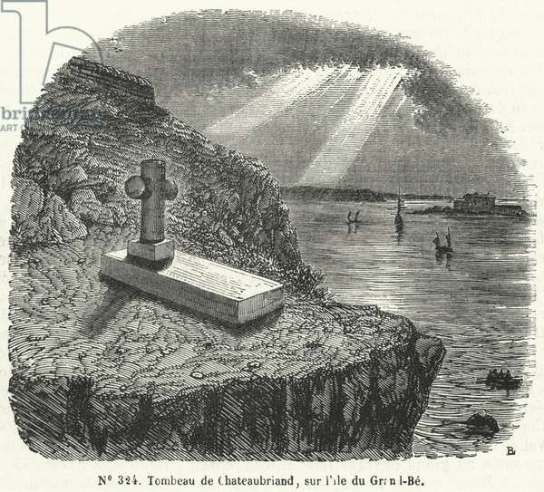 Grave of French writer and politician Rene-Francois de Chateaubriand on the island of Grand Be off the coast of Brittany near St Malo (engraving)