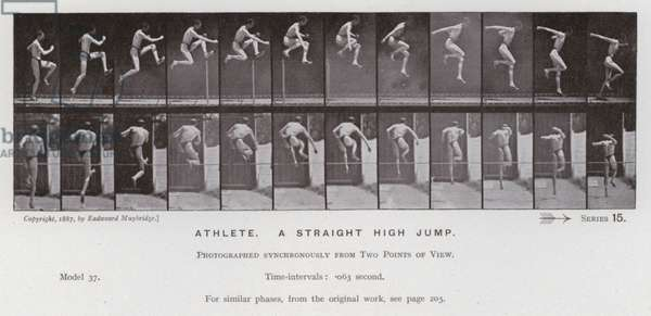 The Human Figure in Motion: Athlete, a straight high jump (b/w photo)