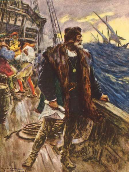 The voyage of Columbus (colour litho)