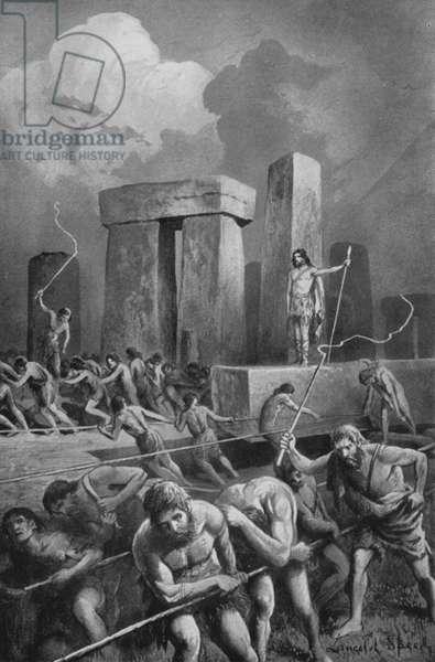 The Building of Stonehenge (litho)