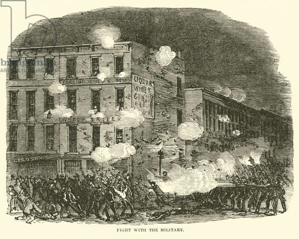 Fight with the Military, July 1863 (engraving)