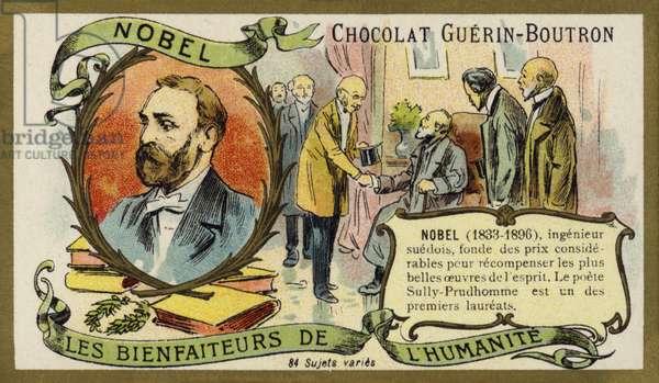 Alfred Nobel, Swedish chemist and industrialist (chromolitho)