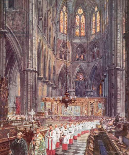 Children's Day Service, Westminster Abbey (colour litho)