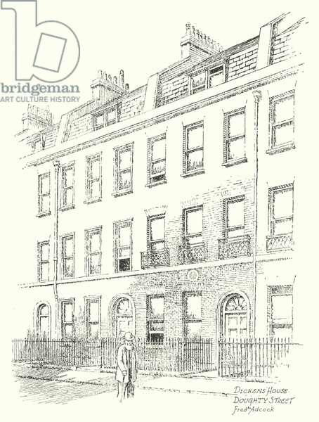Dickens' House, Doughty Street (litho)