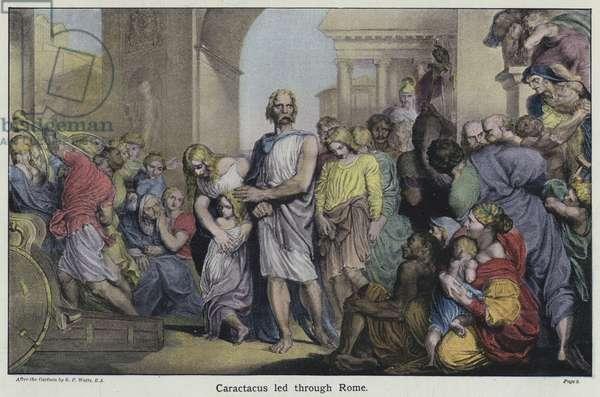 Caractacus led through Rome (colour litho)