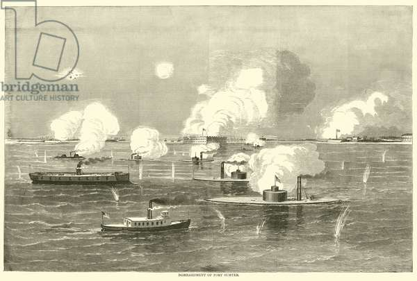 Bombardment of Fort Sumter, April 1863 (engraving)