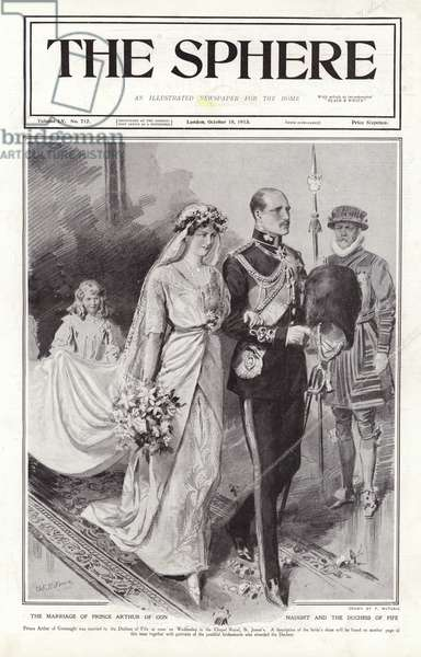 The marriage of Prince Arthur of Connaught and the Duchess of Fife. Cover of The Sphere, 18 October 1913. (litho)