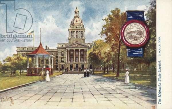 The Nebraska State Capitol, Lincoln, Nebraska (colour litho)