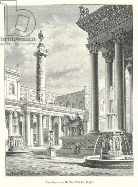 Trajan's Column and Forum, Rome (engraving)