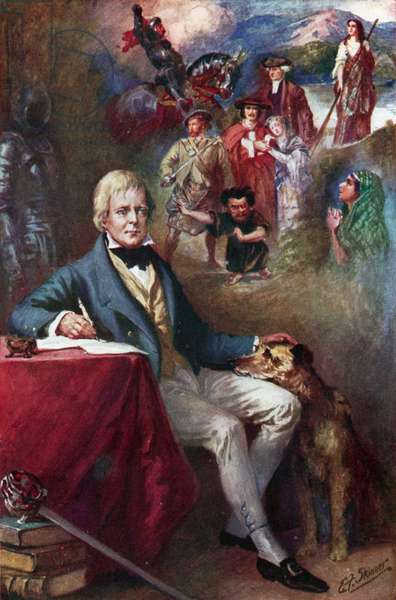Sir Walter Scott and some of the most famous of his creations (colour litho)