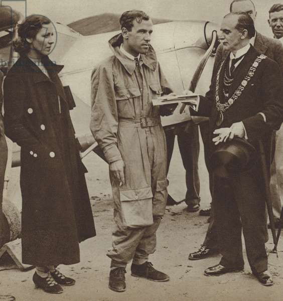 Marriage of British aviators Amy Johnson and Jim Mollison, 1932 (b/w photo)
