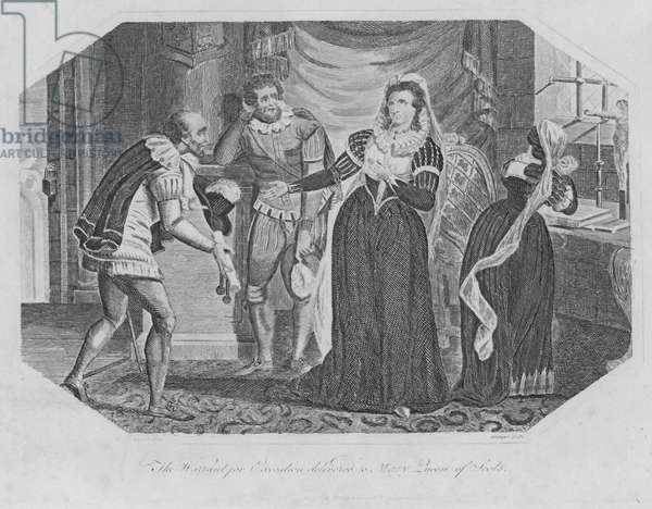 The Warrant for Execution delivered to Mary Queen of Scots (engraving)