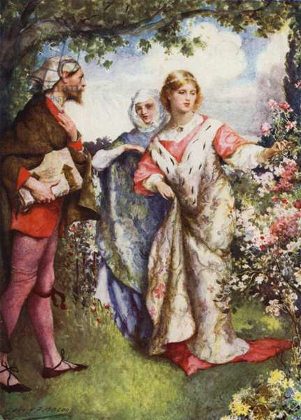 Emma and Eginhard (colour litho)