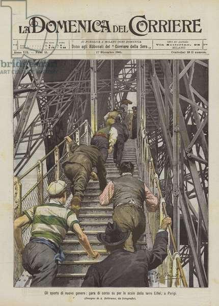 Gli sports di nuovo genere, gara di corsa su per le scale della torre Eiffel, a Parigi (colour litho)