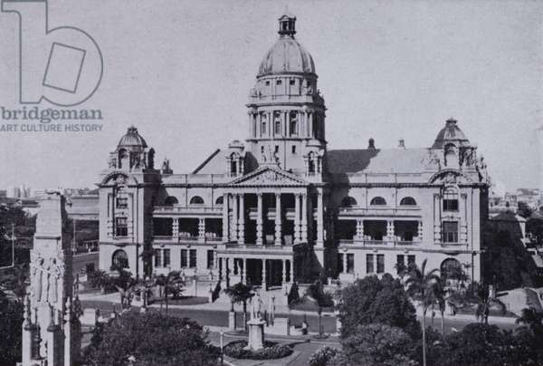 Durban City Hall and Town Gardens with Cenotaph (b/w photo)