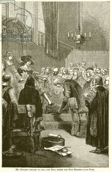 Mr. Speaker refuses to tell the King where the Five Members have gone (engraving)