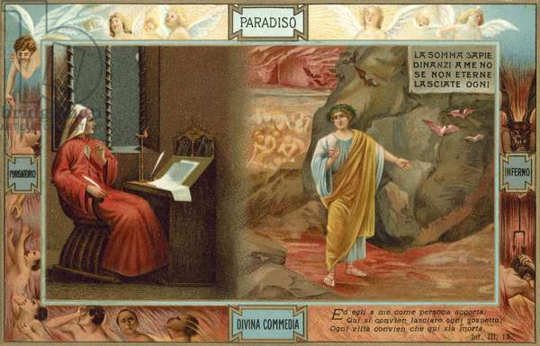 Illustration for Dante's The Divine Comedy (colour litho)