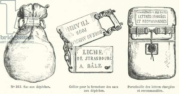 Items used by the French postal service (engraving)