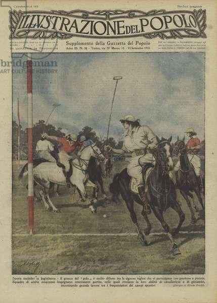 Women's polo match in England (colour litho)