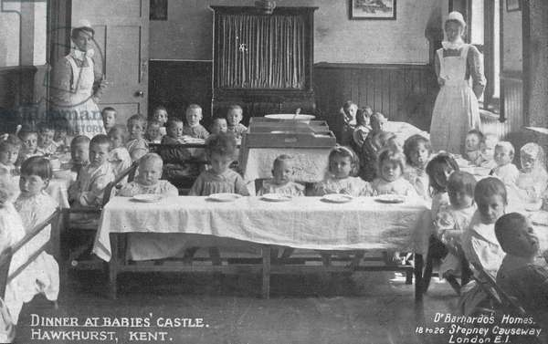 Dinner at Dr Barnardo's Babies' Castle, Hawkhurst, Kent (b/w photo)
