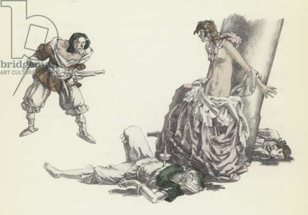 Illustration for Voltaire's Candide (colour litho)