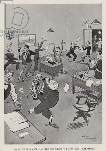 The Office Gets Word that the Boss Has Missed the Boat Back from America (litho)
