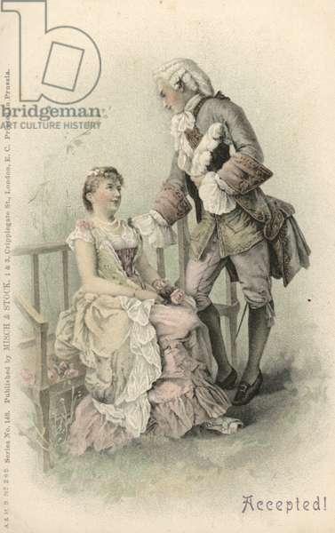 Woman accepting a proposal (colour litho)