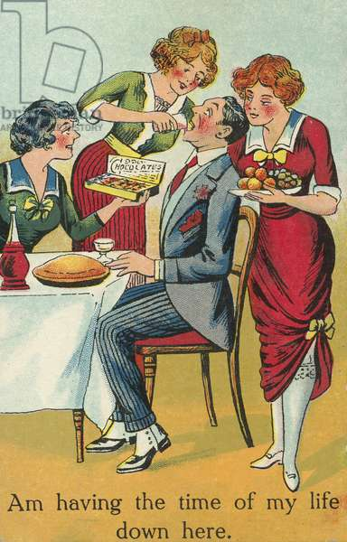 Centre of attention: a man being supplied with food, drinks and treats by three women (chromolitho)