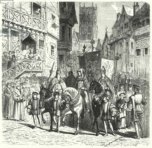 Catholic prelates returning to England under the reign of Mary I (engraving)