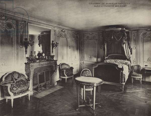 Versailles: Chambre De Marie Antoinette; Marie-Antoinette Bed-Room (b/w photo)