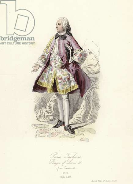 Paris fashions, reign of Louis XV (coloured engraving)