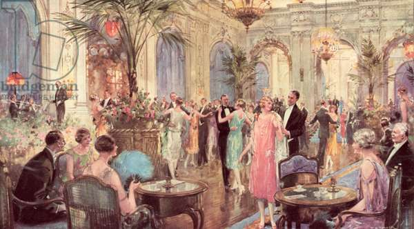 Dancing at its best, The Palm Court of The Hotel Cecil (colour litho)