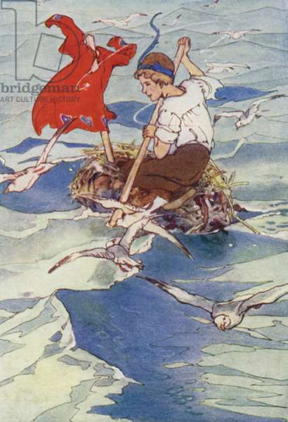 Spreading his Coat to the Wind, he sailed merrily (colour litho)