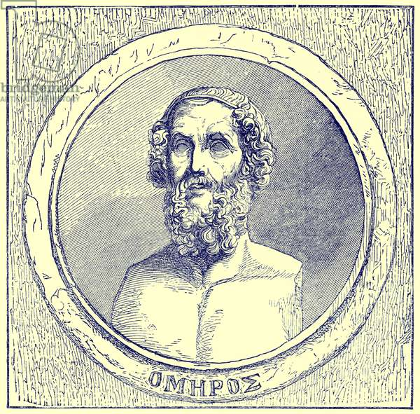 Homer, illustration from 'The Illustrated History of the World', published c.1880 (digitally enhanced image)