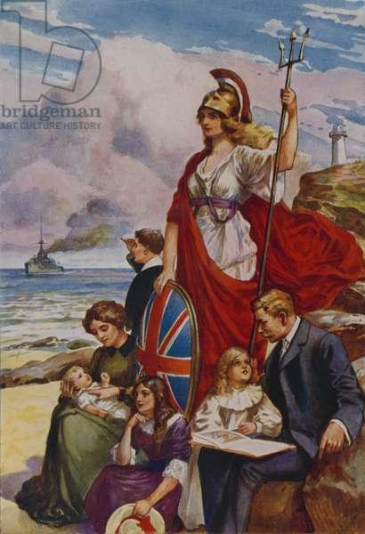 The proud bulwarks of Britannia (colour litho)
