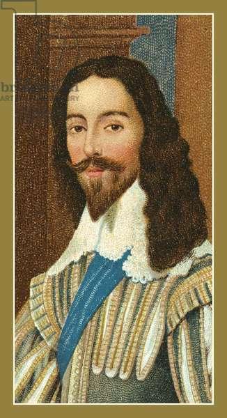 King Charles I, 1600-1649, by Daniel Mytens (colour litho)