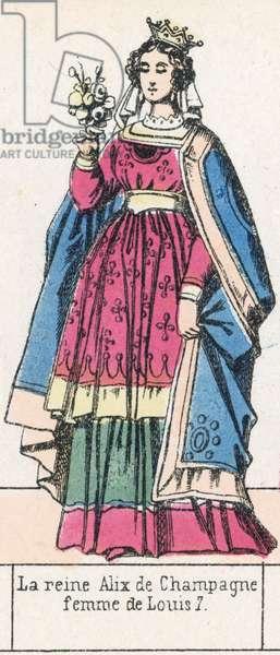 La reine Alix de Champagne, femme de Louis 7 (coloured engraving)