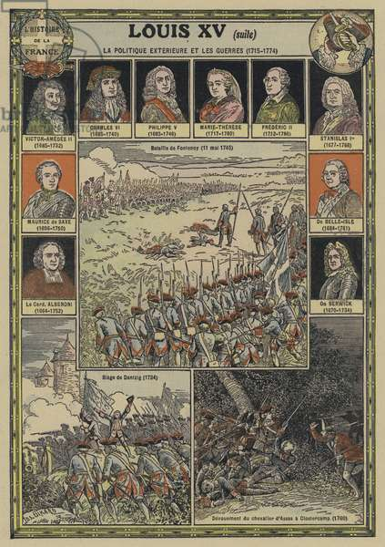 Foreign affairs and wars during the reign of Louis XV of France, 1715-1774 (colour litho)