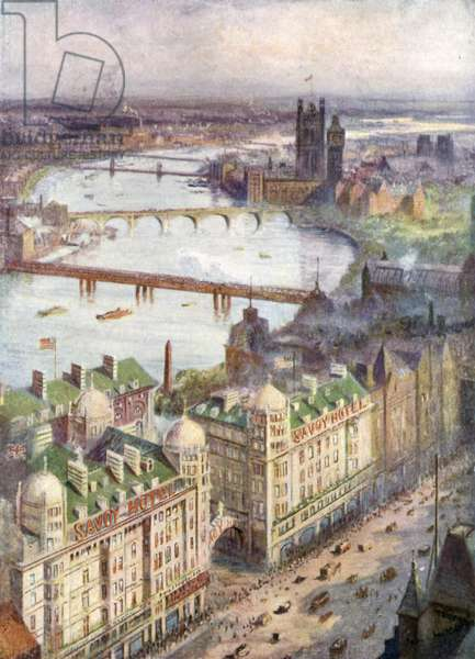 View from Savoy Hotel, looking West (colour litho)