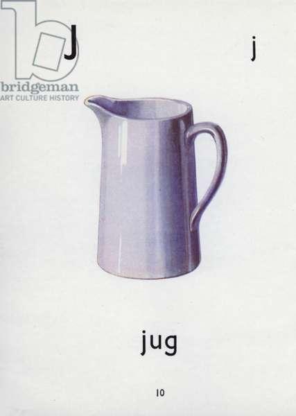 Letter J, jug (colour litho)