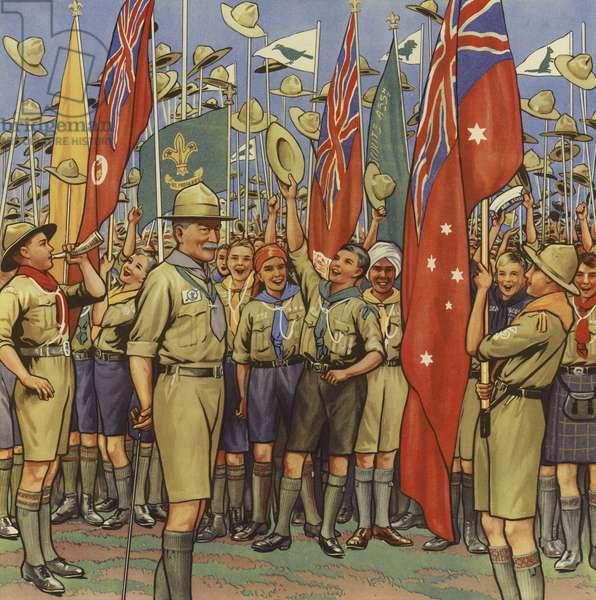 The scout's jamboree (colour litho)