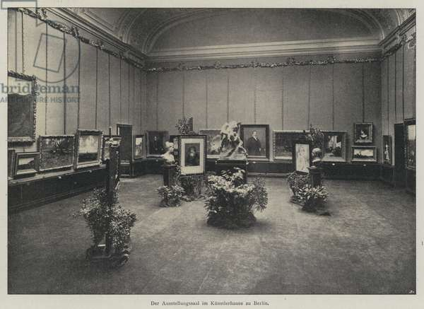 Exhibition hall in the Kunstlerhaus art gallery, Berlin, Germany (b/w photo)