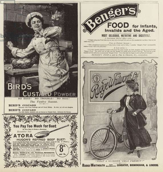 Advertising spread from The Graphic Christmas Number 1896 (engraving)